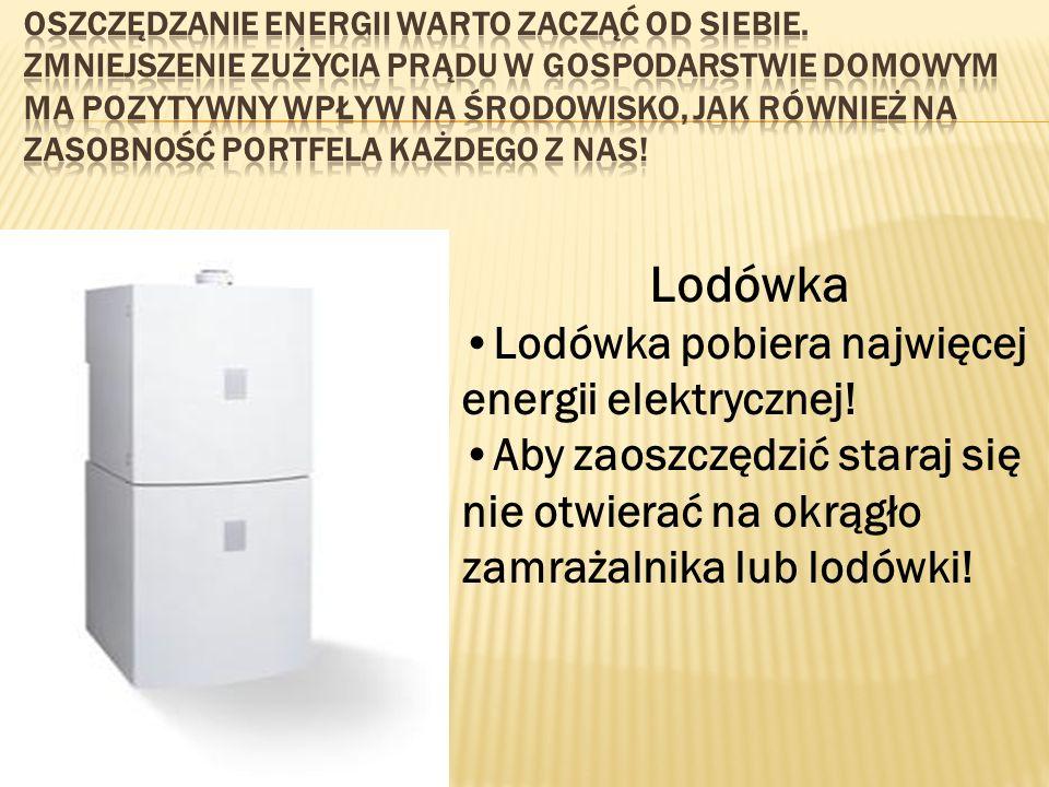 Lodówka Lodówka pobiera najwięcej energii elektrycznej! Aby zaoszczędzić staraj się nie otwierać na okrągło zamrażalnika lub lodówki!