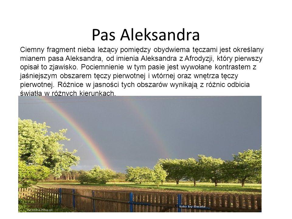 Pas Aleksandra Ciemny fragment nieba leżący pomiędzy obydwiema tęczami jest określany mianem pasa Aleksandra, od imienia Aleksandra z Afrodyzji, który