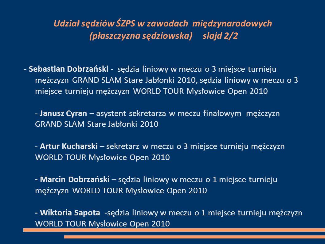 Udział sędziów ŚZPS w zawodach międzynarodowych (płaszczyzna sędziowska) slajd 2/2 - Sebastian Dobrzański - sędzia liniowy w meczu o 3 miejsce turniej