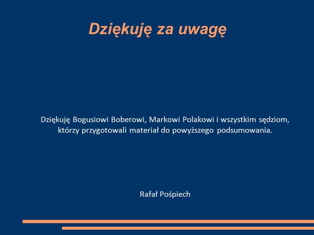 Dziękuję za uwagę Dziękuję Bogusiowi Boberowi, Markowi Polakowi i wszystkim sędziom, którzy przygotowali materiał do powyższego podsumowania.