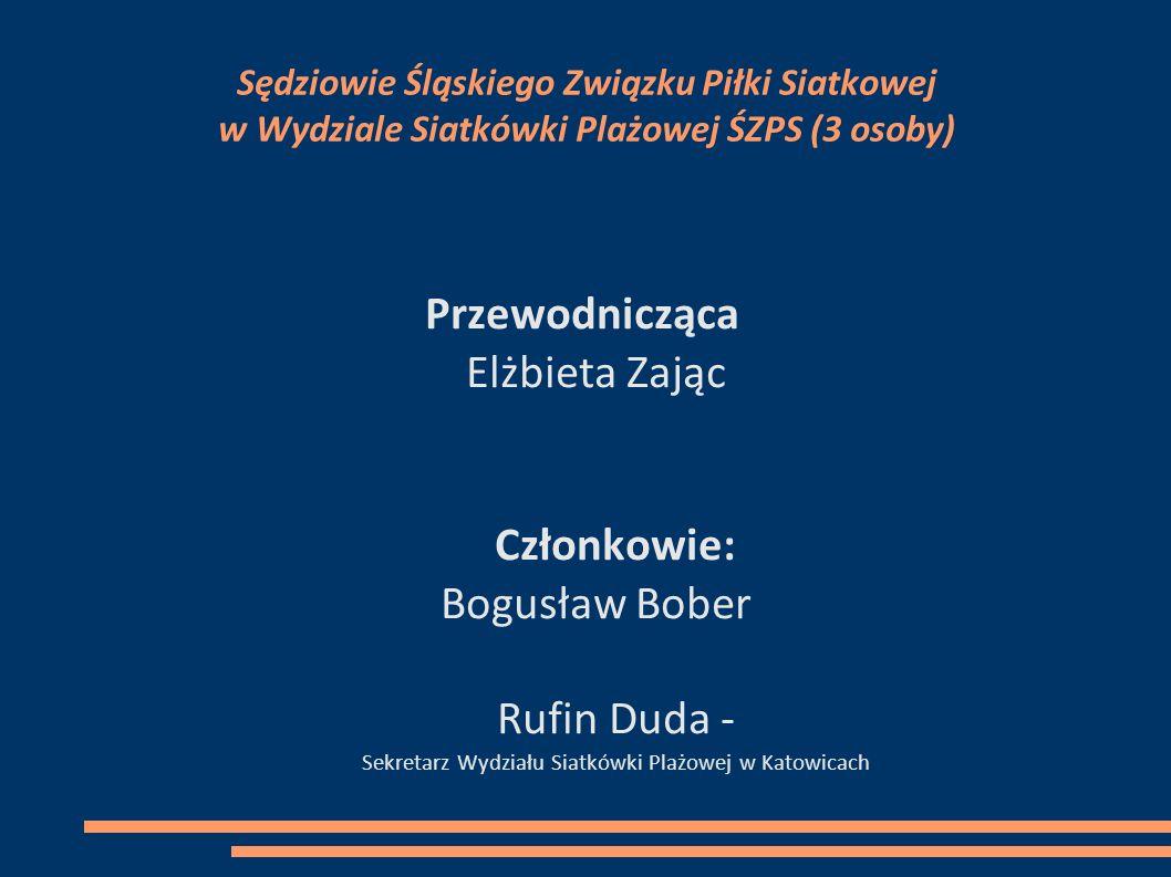Sędziowie Śląskiego Związku Piłki Siatkowej w Wydziale Siatkówki Plażowej ŚZPS (3 osoby) Przewodnicząca Elżbieta Zając Członkowie: Bogusław Bober Rufi
