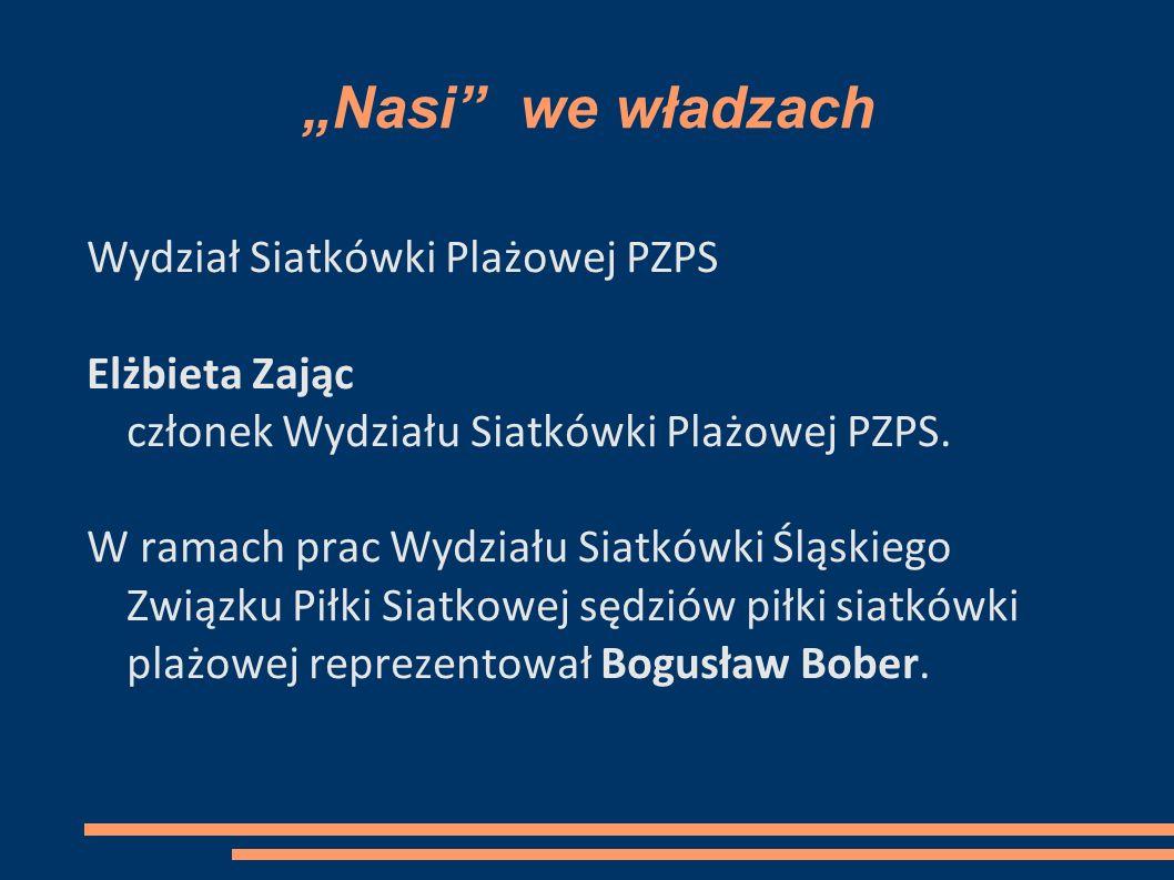 Nasi we władzach Wydział Siatkówki Plażowej PZPS Elżbieta Zając członek Wydziału Siatkówki Plażowej PZPS.