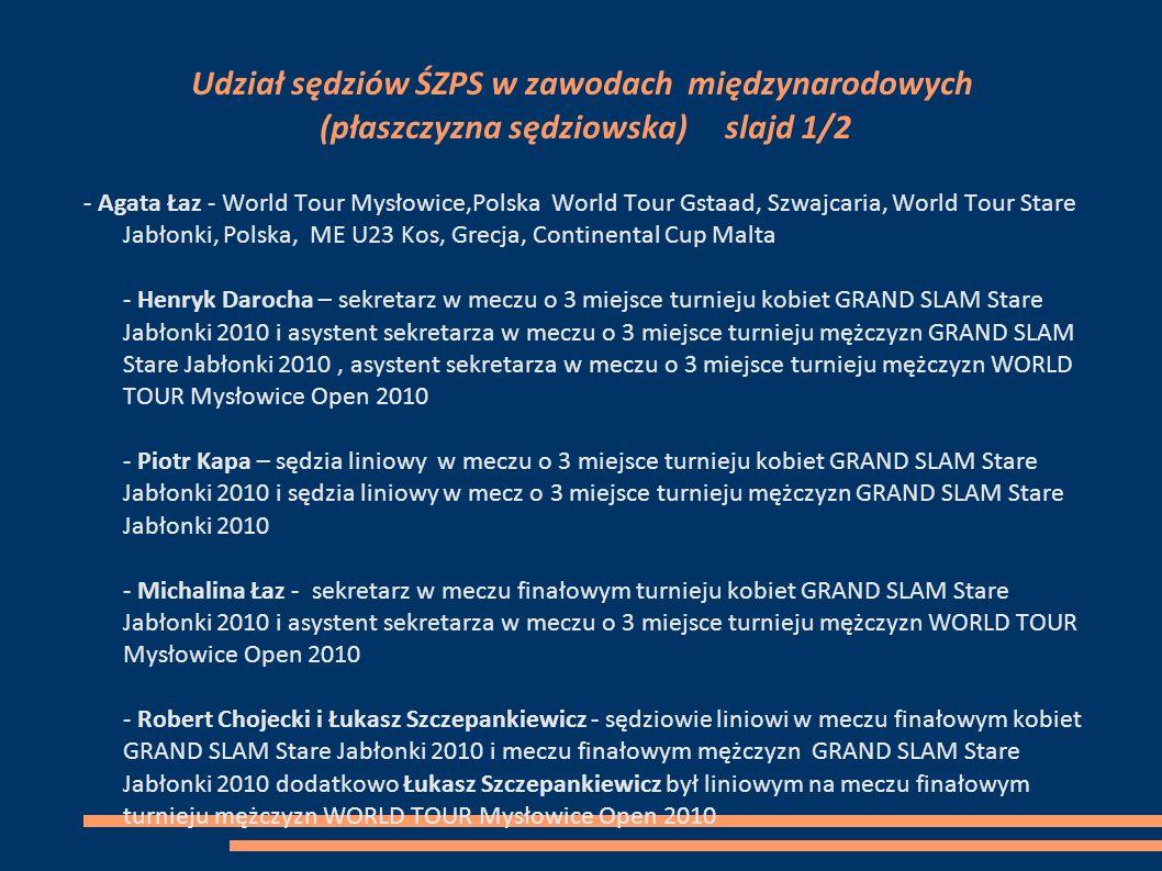 Udział sędziów ŚZPS w zawodach międzynarodowych (płaszczyzna sędziowska) slajd 1/2 - Agata Łaz - World Tour Mysłowice,Polska World Tour Gstaad, Szwajc