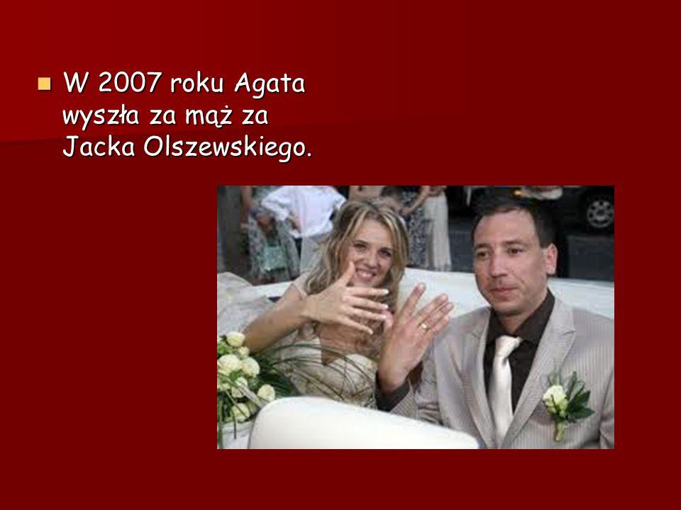 W 2007 roku Agata wyszła za mąż za Jacka Olszewskiego. W 2007 roku Agata wyszła za mąż za Jacka Olszewskiego.