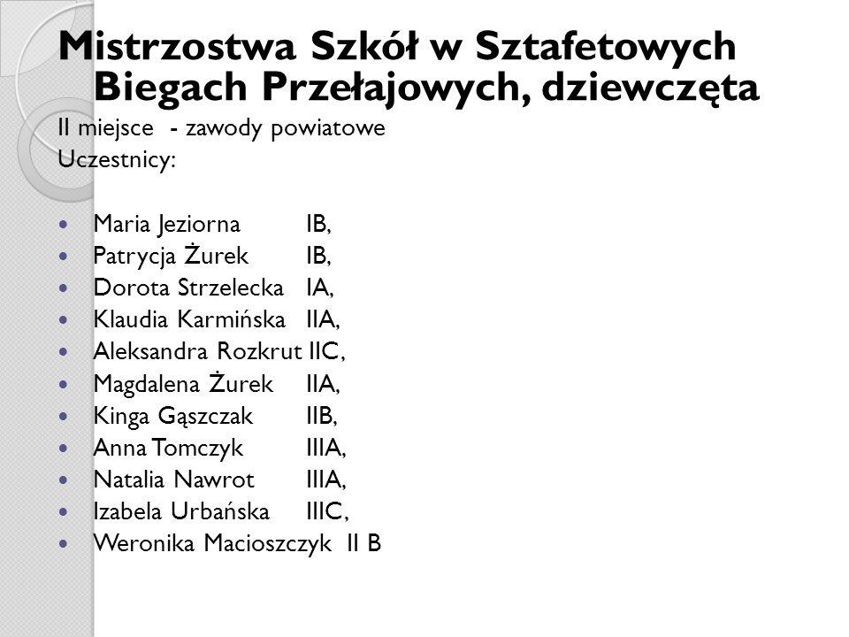 Mistrzostwa Szkół w Sztafetowych Biegach Przełajowych, dziewczęta II miejsce - zawody powiatowe Uczestnicy: Maria Jeziorna IB, Patrycja Żurek IB, Doro