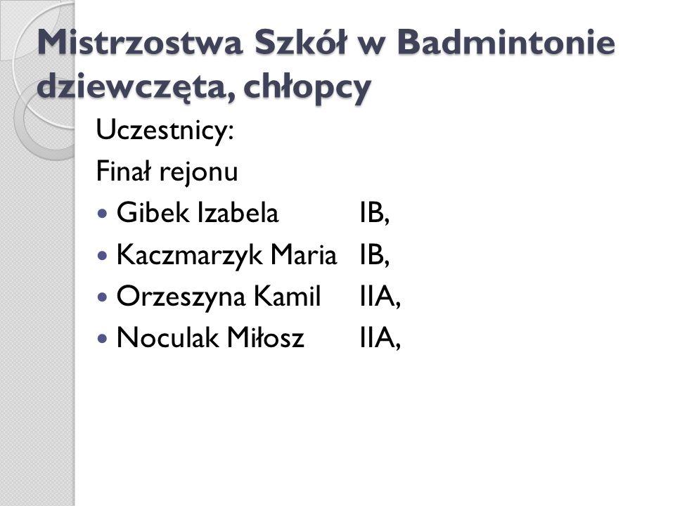 Mistrzostwa Szkół w Badmintonie dziewczęta, chłopcy Uczestnicy: Finał rejonu Gibek Izabela IB, Kaczmarzyk Maria IB, Orzeszyna Kamil IIA, Noculak Miłos