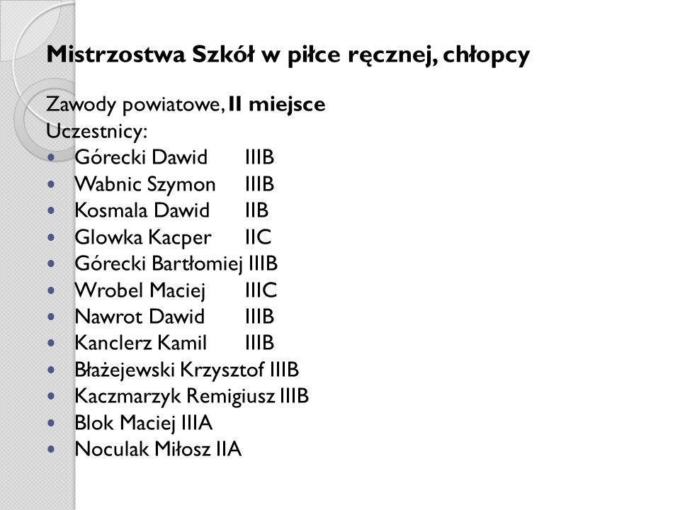 Mistrzostwa Szkół w piłce ręcznej, chłopcy Zawody powiatowe, II miejsce Uczestnicy: Górecki Dawid IIIB Wabnic Szymon IIIB Kosmala Dawid IIB Glowka Kac