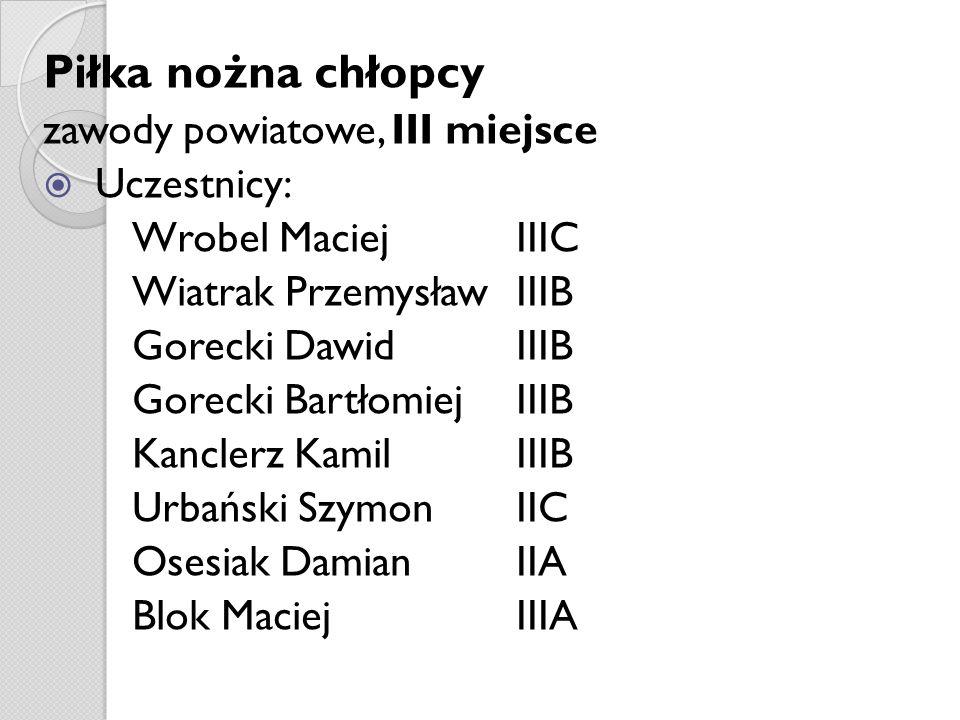 Piłka nożna chłopcy zawody powiatowe, III miejsce Uczestnicy: Wrobel Maciej IIIC Wiatrak Przemysław IIIB Gorecki Dawid IIIB Gorecki Bartłomiej IIIB Ka
