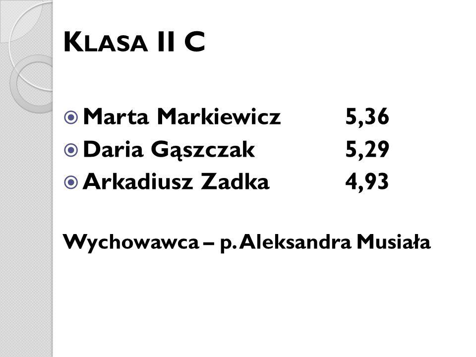 K LASA II C Marta Markiewicz 5,36 Daria Gąszczak 5,29 Arkadiusz Zadka 4,93 Wychowawca – p. Aleksandra Musiała