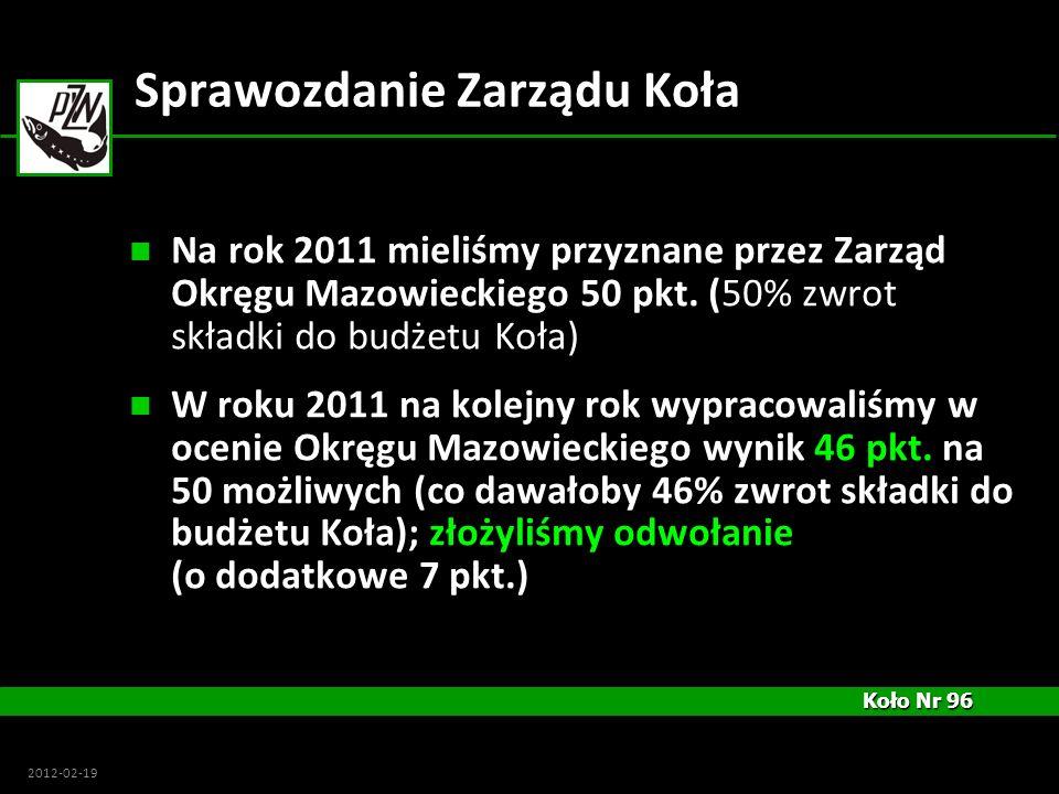 Koło Nr 96 Koło Nr 96 2012-02-19 Sprawozdanie Zarządu Koła Na rok 2011 mieliśmy przyznane przez Zarząd Okręgu Mazowieckiego 50 pkt. (50% zwrot składki