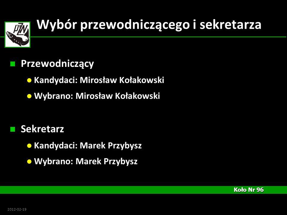 Koło Nr 96 Koło Nr 96 2012-02-19 Wybór przewodniczącego i sekretarza Przewodniczący Kandydaci: Mirosław Kołakowski Wybrano: Mirosław Kołakowski Sekret