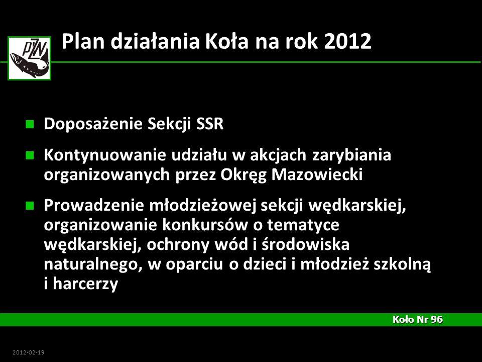 Koło Nr 96 Koło Nr 96 2012-02-19 Plan działania Koła na rok 2012 Doposażenie Sekcji SSR Kontynuowanie udziału w akcjach zarybiania organizowanych prze