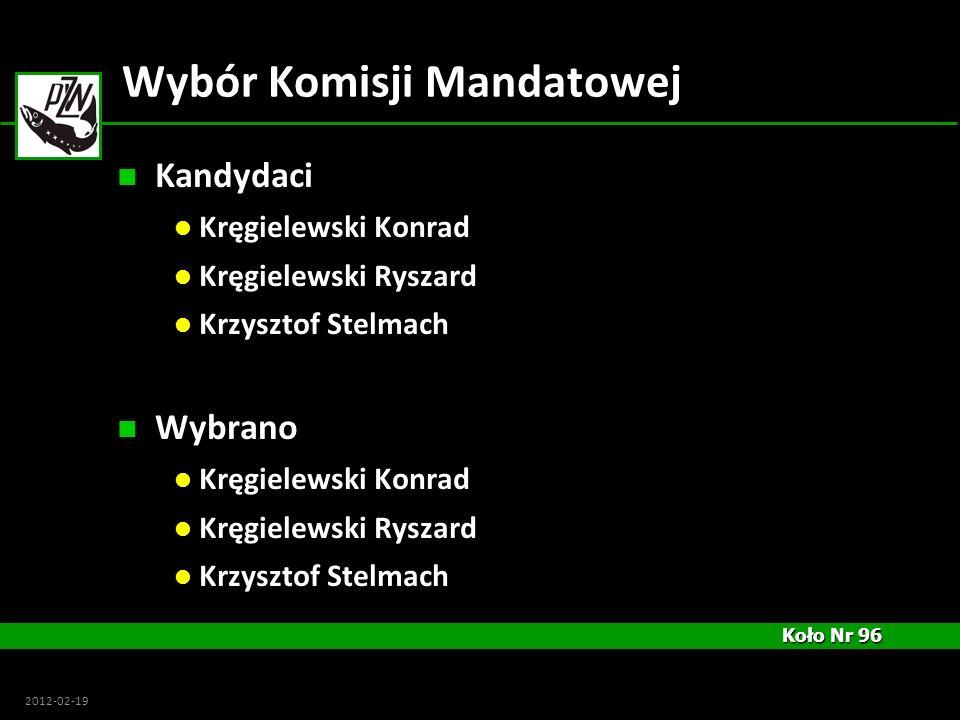 Koło Nr 96 Koło Nr 96 2012-02-19 Wybór Komisji Mandatowej Kandydaci Kręgielewski Konrad Kręgielewski Ryszard Krzysztof Stelmach Wybrano Kręgielewski K