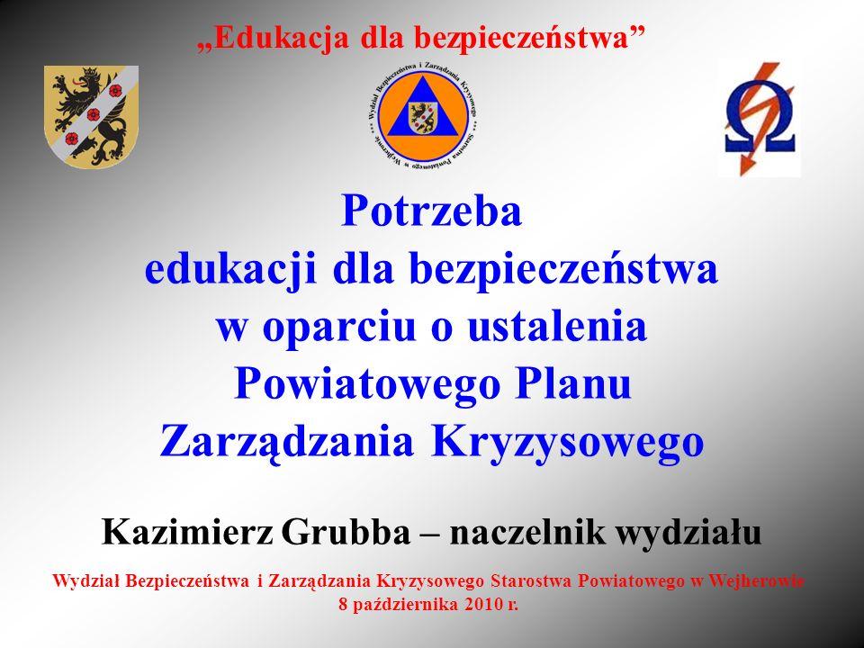 Potrzeba edukacji dla bezpieczeństwa w oparciu o ustalenia Powiatowego Planu Zarządzania Kryzysowego Kazimierz Grubba – naczelnik wydziału Edukacja dl