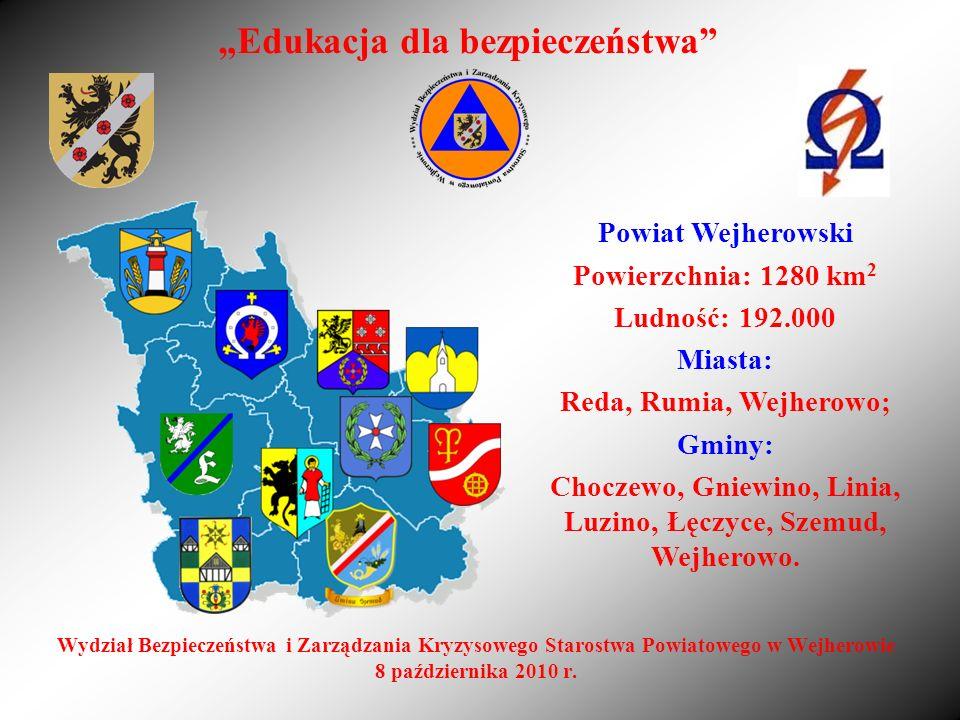 Wydział Bezpieczeństwa i Zarządzania Kryzysowego Starostwa Powiatowego w Wejherowie 8 października 2010 r. Edukacja dla bezpieczeństwa Powiat Wejherow