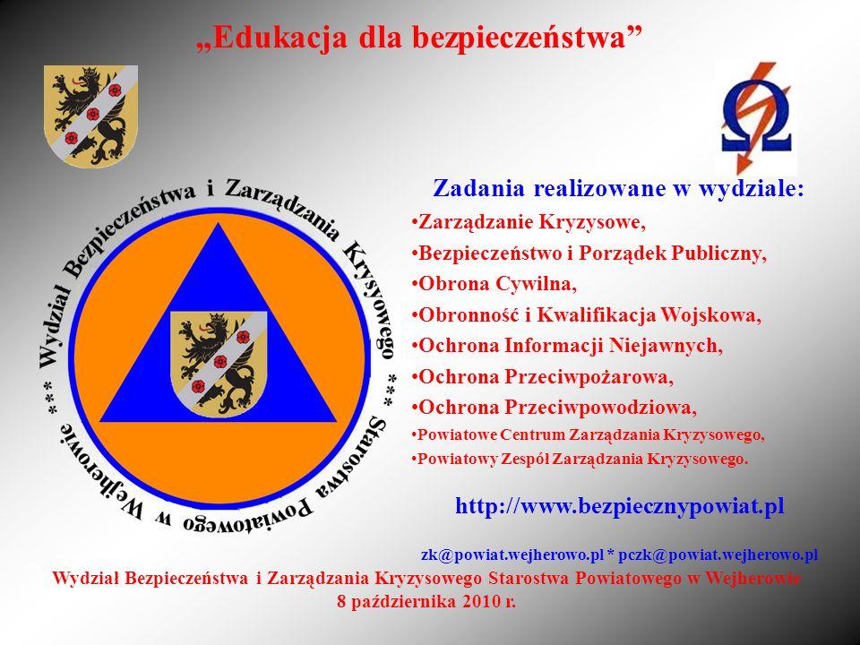 Edukacja dla bezpieczeństwa Zadania realizowane w wydziale: Zarządzanie Kryzysowe, Bezpieczeństwo i Porządek Publiczny, Obrona Cywilna, Obronność i Kw
