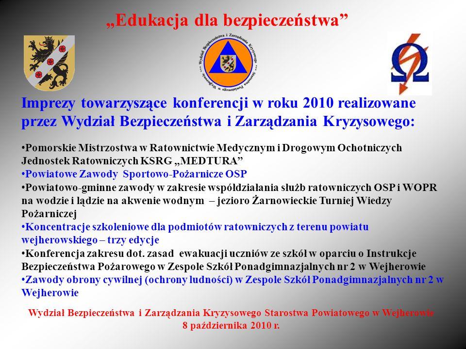 Imprezy towarzyszące konferencji w roku 2010 realizowane przez Wydział Bezpieczeństwa i Zarządzania Kryzysowego: Pomorskie Mistrzostwa w Ratownictwie