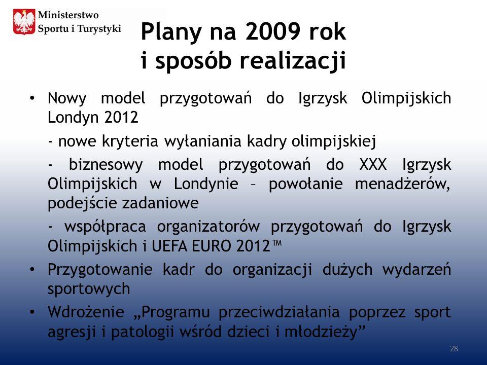 Plany na 2009 rok i sposób realizacji Nowy model przygotowań do Igrzysk Olimpijskich Londyn 2012 - nowe kryteria wyłaniania kadry olimpijskiej - bizne