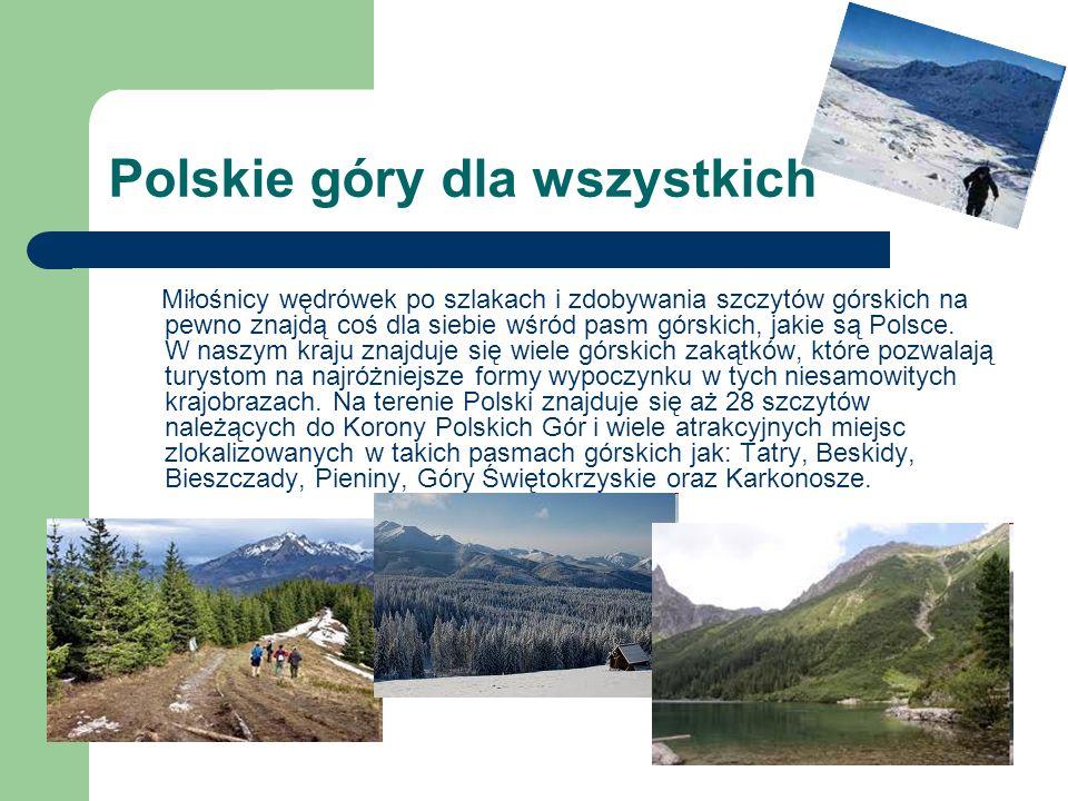 Polskie góry dla wszystkich Miłośnicy wędrówek po szlakach i zdobywania szczytów górskich na pewno znajdą coś dla siebie wśród pasm górskich, jakie są