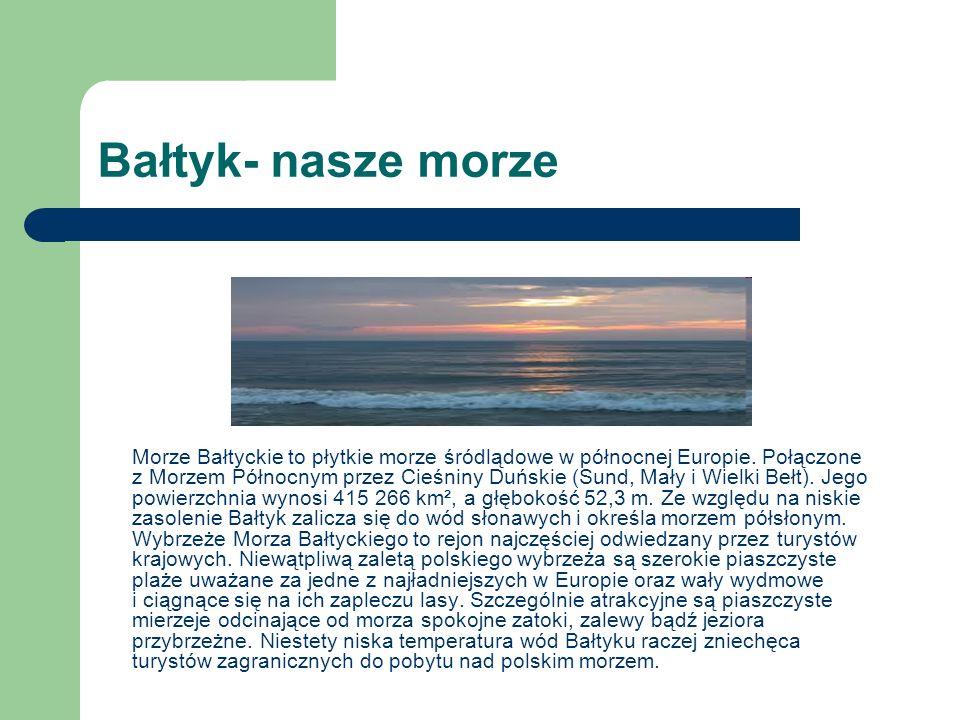 Bałtyk- nasze morze Morze Bałtyckie to płytkie morze śródlądowe w północnej Europie. Połączone z Morzem Północnym przez Cieśniny Duńskie (Sund, Mały i
