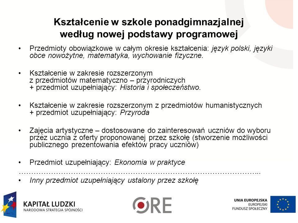 Kształcenie w szkole ponadgimnazjalnej według nowej podstawy programowej Przedmioty obowiązkowe w całym okresie kształcenia: język polski, języki obce