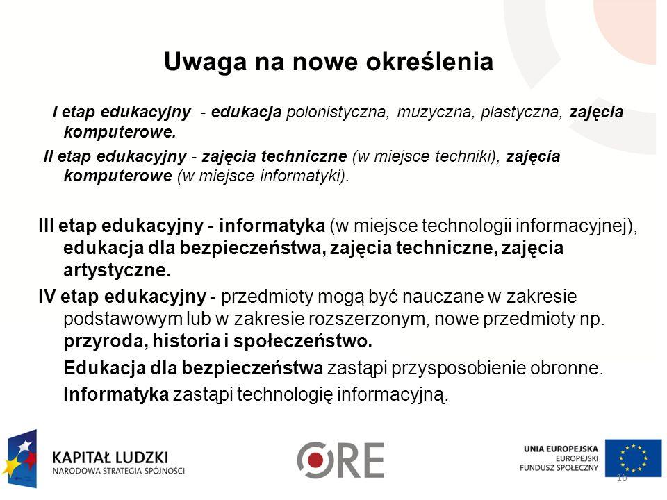 Uwaga na nowe określenia I etap edukacyjny - edukacja polonistyczna, muzyczna, plastyczna, zajęcia komputerowe. II etap edukacyjny - zajęcia techniczn