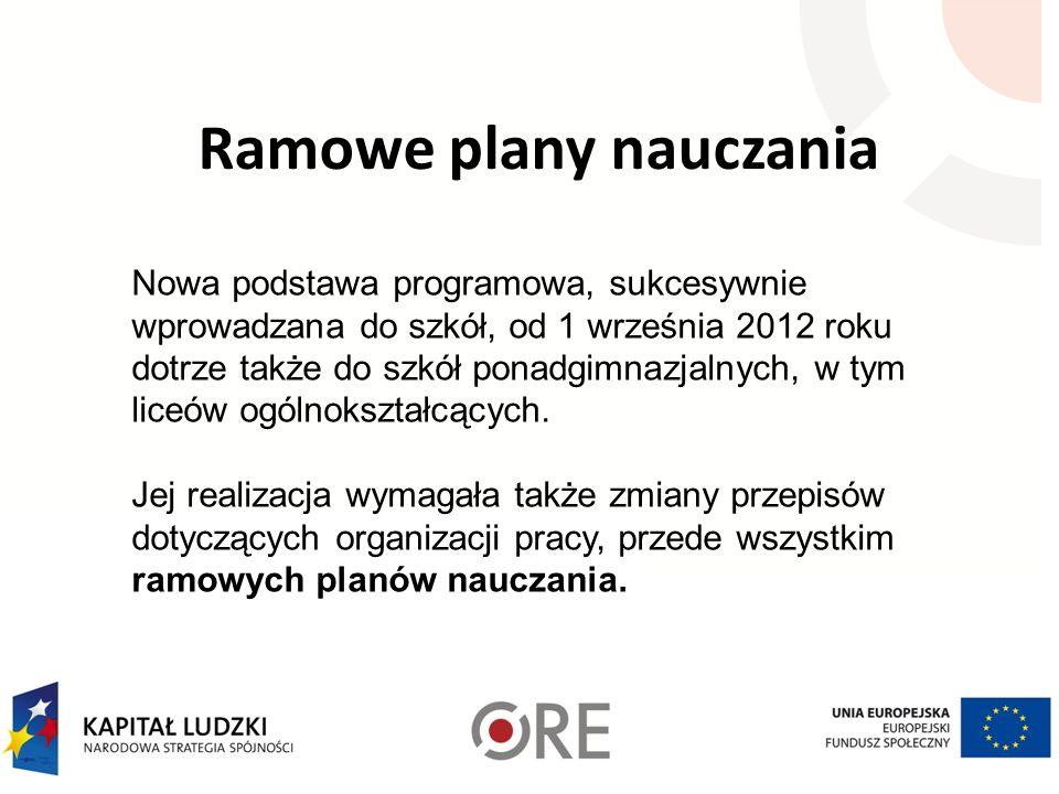 Ramowe plany nauczania Nowa podstawa programowa, sukcesywnie wprowadzana do szkół, od 1 września 2012 roku dotrze także do szkół ponadgimnazjalnych, w