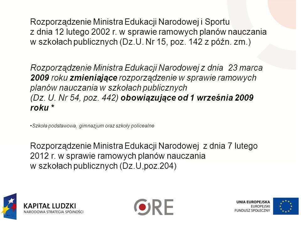 Rozporządzenie Ministra Edukacji Narodowej i Sportu z dnia 12 lutego 2002 r. w sprawie ramowych planów nauczania w szkołach publicznych (Dz.U. Nr 15,