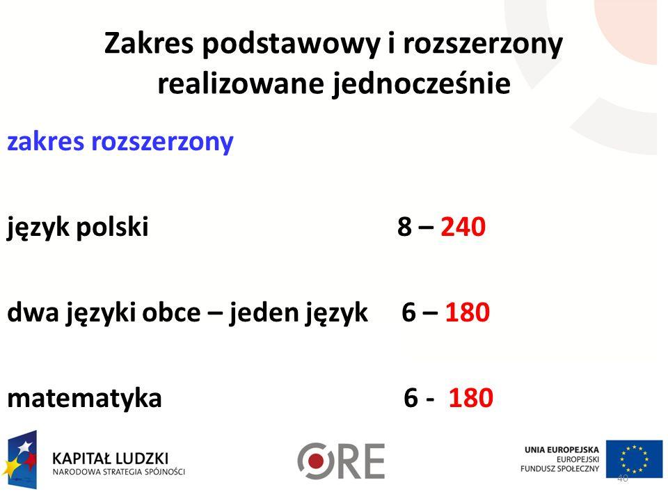 Zakres podstawowy i rozszerzony realizowane jednocześnie zakres rozszerzony język polski 8 – 240 dwa języki obce – jeden język 6 – 180 matematyka 6 -