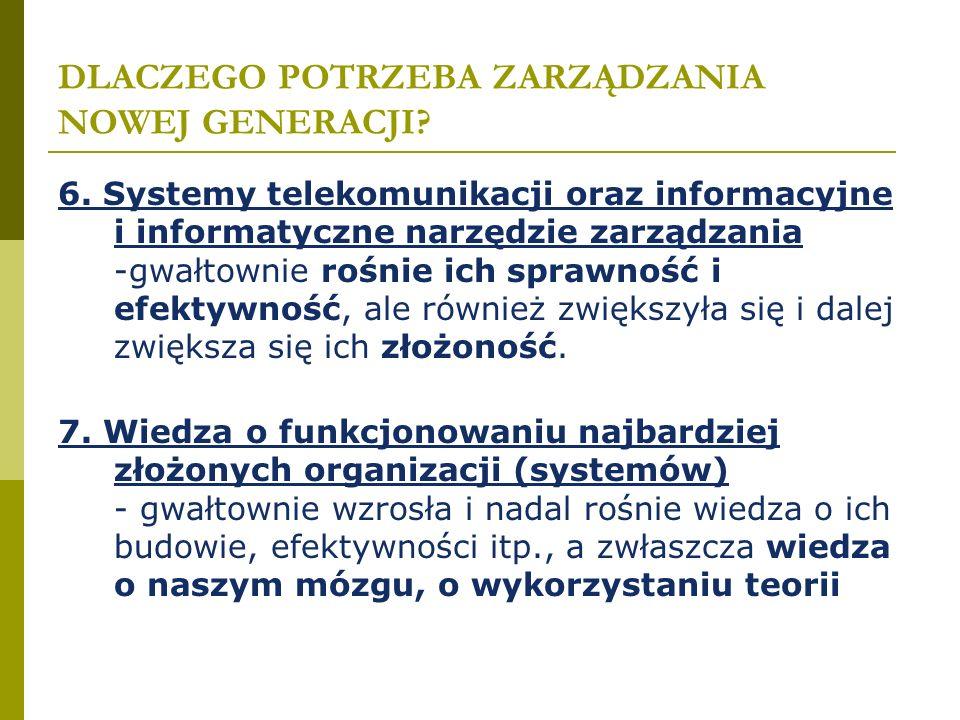 DLACZEGO POTRZEBA ZARZĄDZANIA NOWEJ GENERACJI? 6. Systemy telekomunikacji oraz informacyjne i informatyczne narzędzie zarządzania -gwałtownie rośnie i