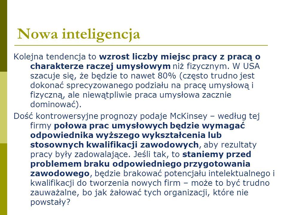 Nowa inteligencja Kolejna tendencja to wzrost liczby miejsc pracy z pracą o charakterze raczej umysłowym niż fizycznym. W USA szacuje się, że będzie t