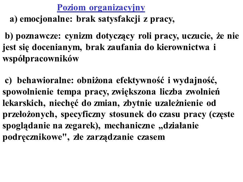 Poziom organizacyjny a) emocjonalne: brak satysfakcji z pracy, b) poznawcze: cynizm dotyczący roli pracy, uczucie, że nie jest się docenianym, brak za