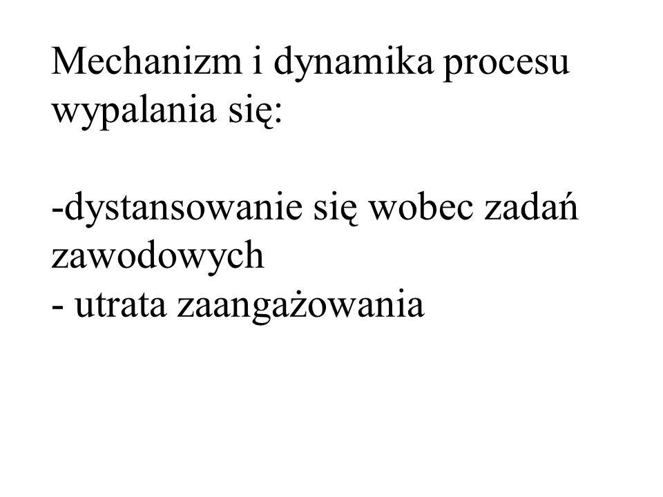 Mechanizm i dynamika procesu wypalania się: -dystansowanie się wobec zadań zawodowych - utrata zaangażowania
