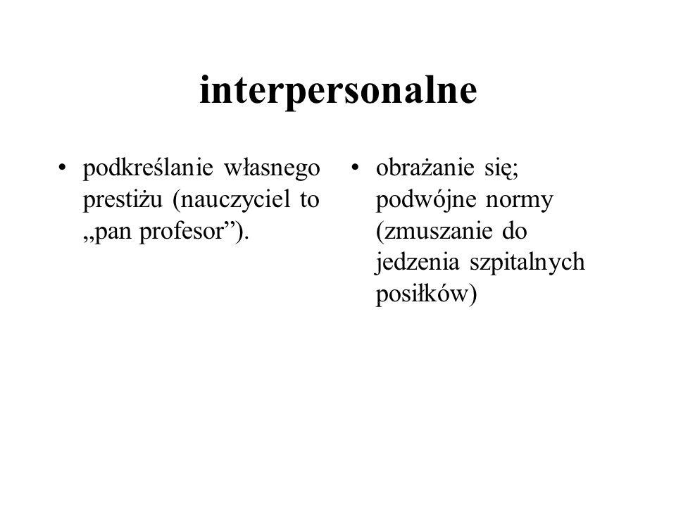 interpersonalne podkreślanie własnego prestiżu (nauczyciel to pan profesor).
