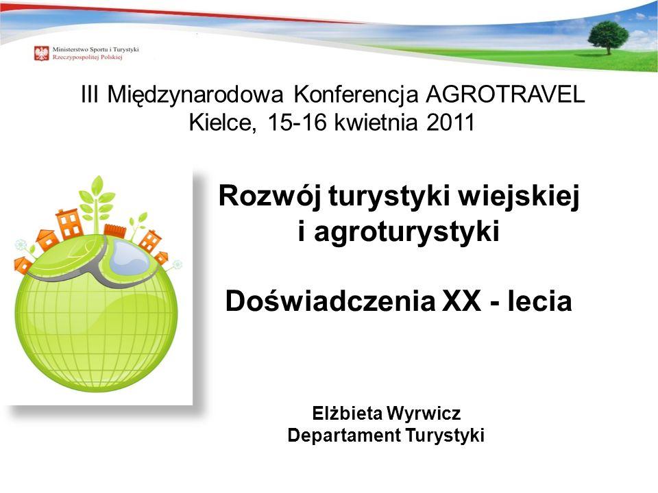 Rozwój turystyki wiejskiej i agroturystyki Doświadczenia XX - lecia Elżbieta Wyrwicz Departament Turystyki III Międzynarodowa Konferencja AGROTRAVEL K