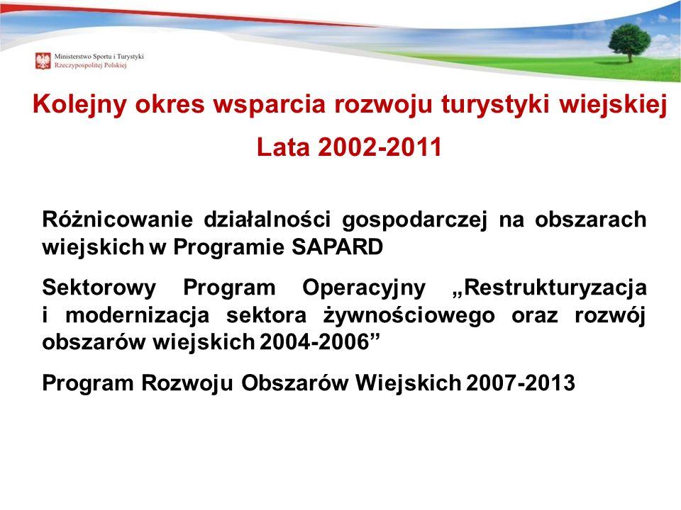 Różnicowanie działalności gospodarczej na obszarach wiejskich w Programie SAPARD Sektorowy Program Operacyjny Restrukturyzacja i modernizacja sektora