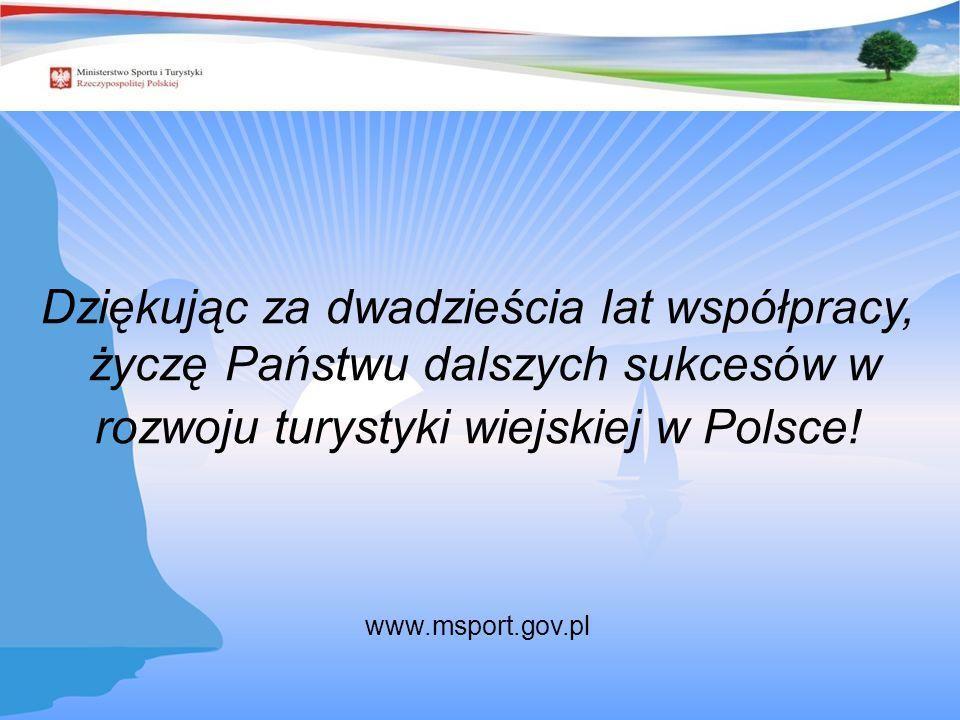 Dziękując za dwadzieścia lat współpracy, życzę Państwu dalszych sukcesów w rozwoju turystyki wiejskiej w Polsce! www.msport.gov.pl