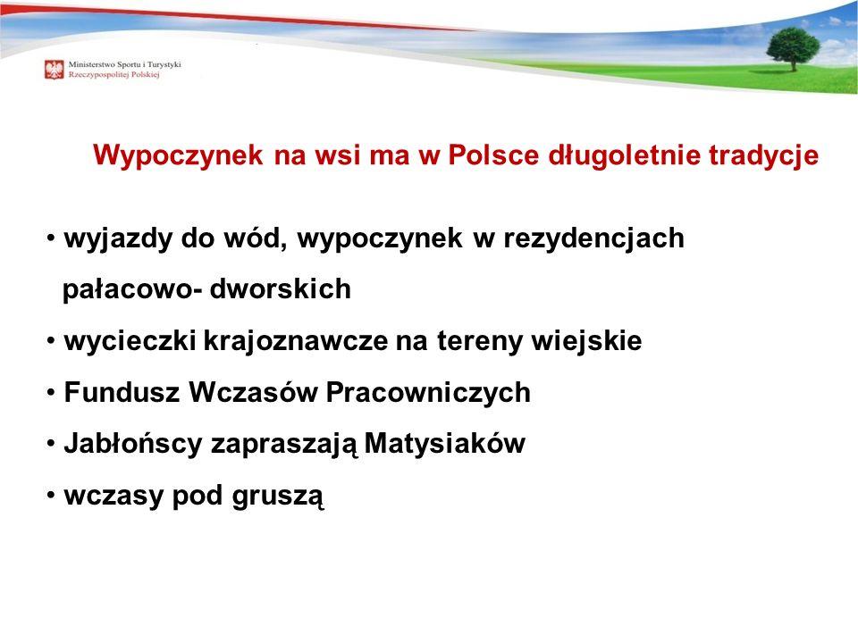 Wypoczynek na wsi ma w Polsce długoletnie tradycje wyjazdy do wód, wypoczynek w rezydencjach pałacowo- dworskich wycieczki krajoznawcze na tereny wiej