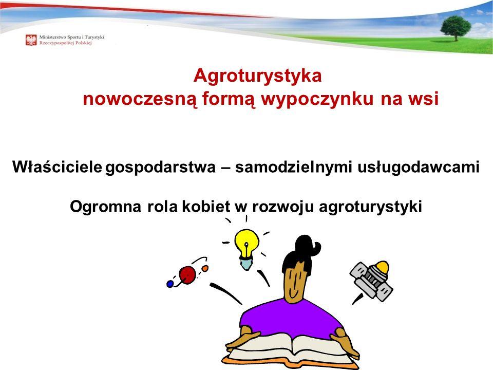 Właściciele gospodarstwa – samodzielnymi usługodawcami Ogromna rola kobiet w rozwoju agroturystyki Agroturystyka nowoczesną formą wypoczynku na wsi
