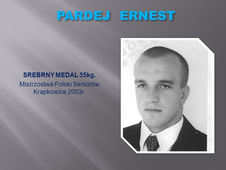LIPIŃSKI ŁUKASZ SREBRNY MEDAL 50kg. Mistrzostwa Polski Juniorów Białogard 2002r.