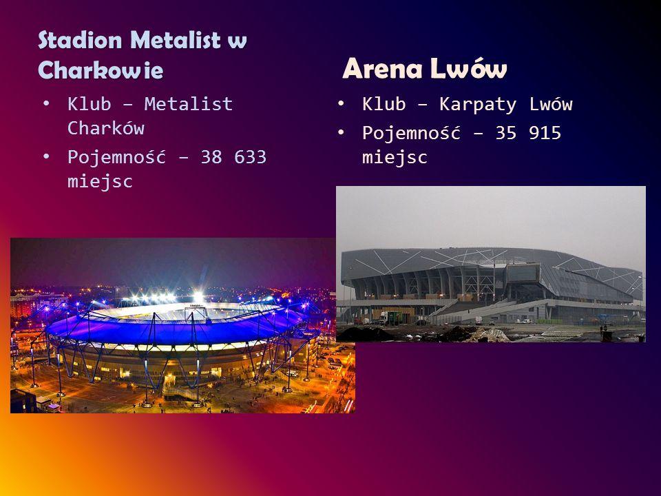 Stadion Metalist w Charkowie Klub – Metalist Charków Pojemność – 38 633 miejsc Arena Lwów Klub – Karpaty Lwów Pojemność – 35 915 miejsc