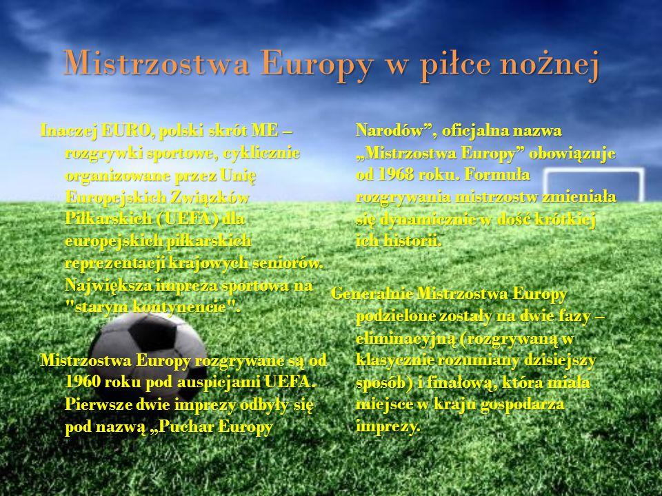 Mistrzostwa Europy w piłce nożnej Inaczej EURO, polski skrót ME – rozgrywki sportowe, cyklicznie organizowane przez Uni ę Europejskich Zwi ą zków Piłk