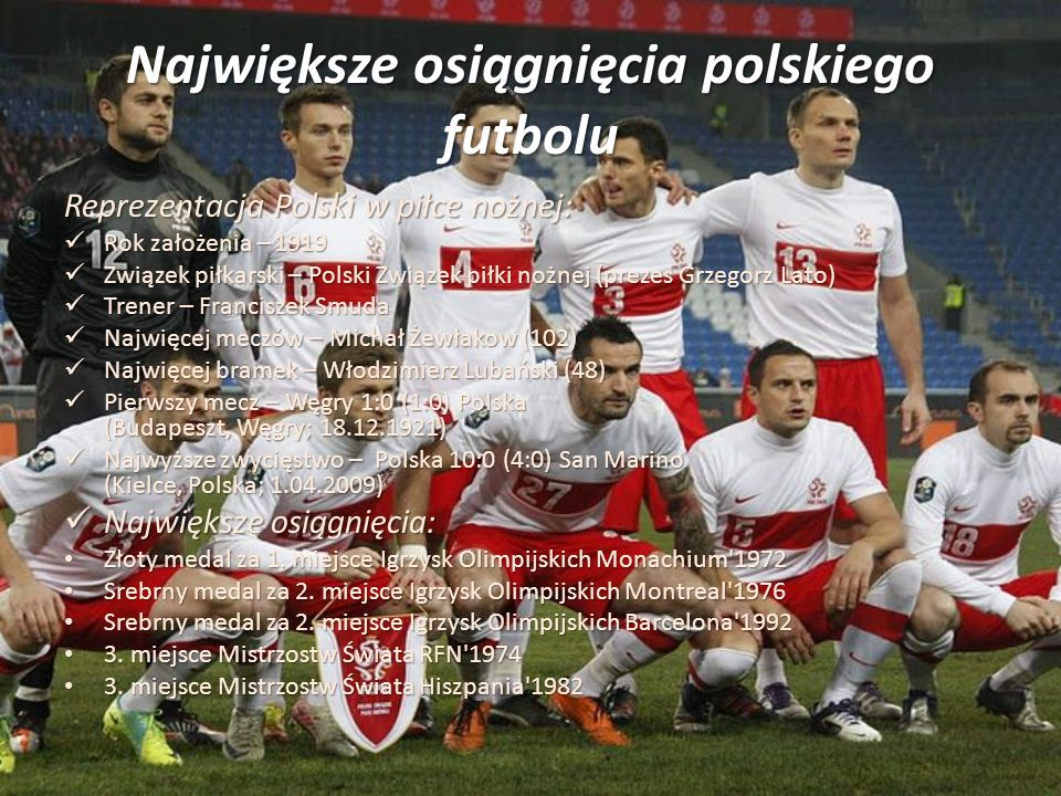 Największe osiągnięcia polskiego futbolu Reprezentacja Polski w piłce nożnej: Rok założenia – 1919 Rok założenia – 1919 Związek piłkarski – Polski Zwi