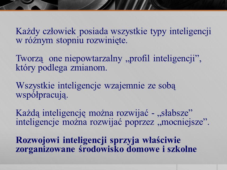 Każdy człowiek posiada wszystkie typy inteligencji w różnym stopniu rozwinięte. Tworzą one niepowtarzalny profil inteligencji, który podlega zmianom.