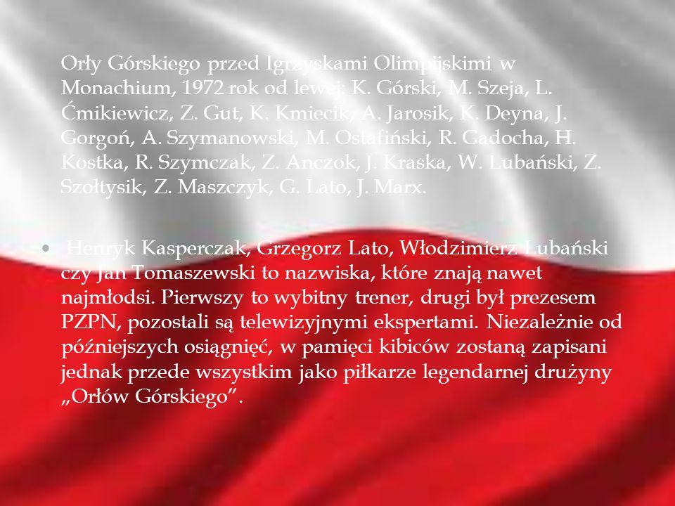 Orły Górskiego przed Igrzyskami Olimpijskimi w Monachium, 1972 rok od lewej: K. Górski, M. Szeja, L. Ćmikiewicz, Z. Gut, K. Kmiecik, A. Jarosik, K. De