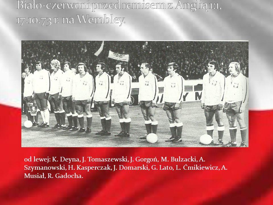 od lewej: K. Deyna, J. Tomaszewski, J. Gorgoń, M. Bulzacki, A. Szymanowski, H. Kasperczak, J. Domarski, G. Lato, L. Ćmikiewicz, A. Musiał, R. Gadocha.