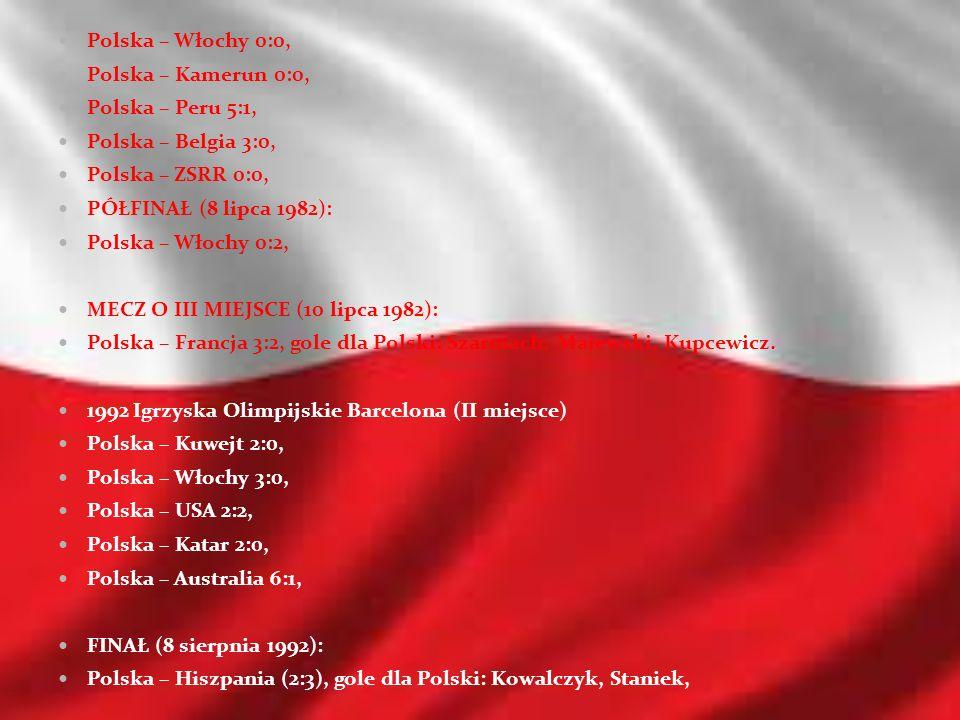 Polska – Włochy 0:0, Polska – Kamerun 0:0, Polska – Peru 5:1, Polska – Belgia 3:0, Polska – ZSRR 0:0, PÓŁFINAŁ (8 lipca 1982): Polska – Włochy 0:2, ME