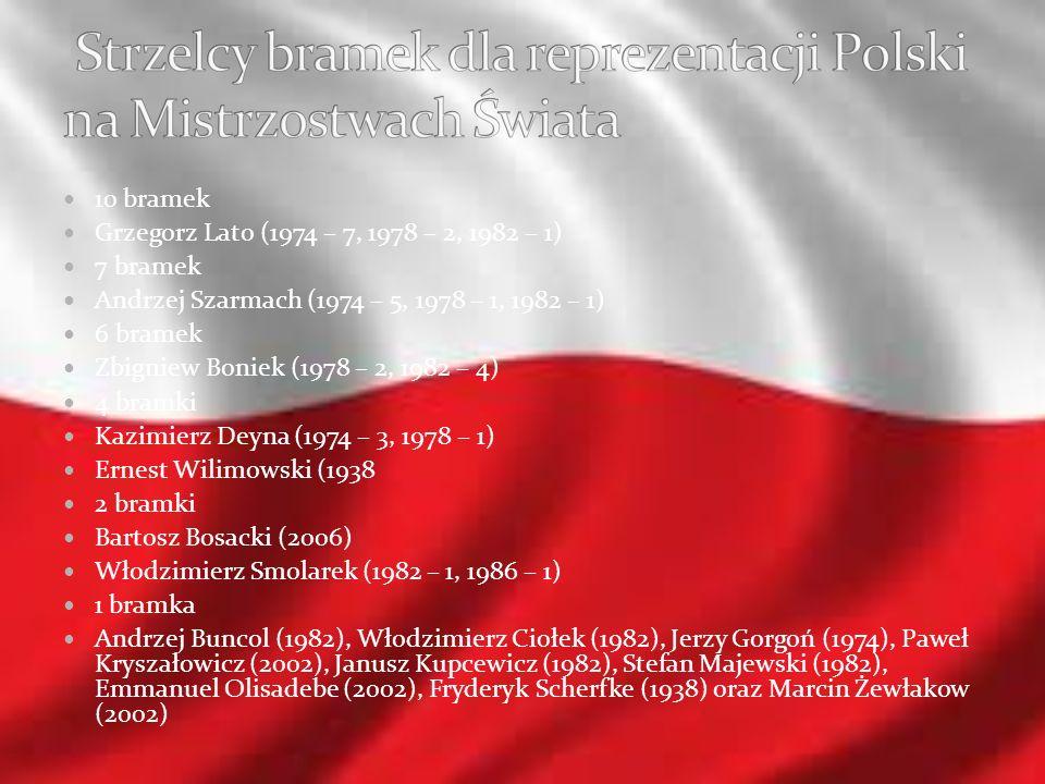 10 bramek Grzegorz Lato (1974 – 7, 1978 – 2, 1982 – 1) 7 bramek Andrzej Szarmach (1974 – 5, 1978 – 1, 1982 – 1) 6 bramek Zbigniew Boniek (1978 – 2, 19