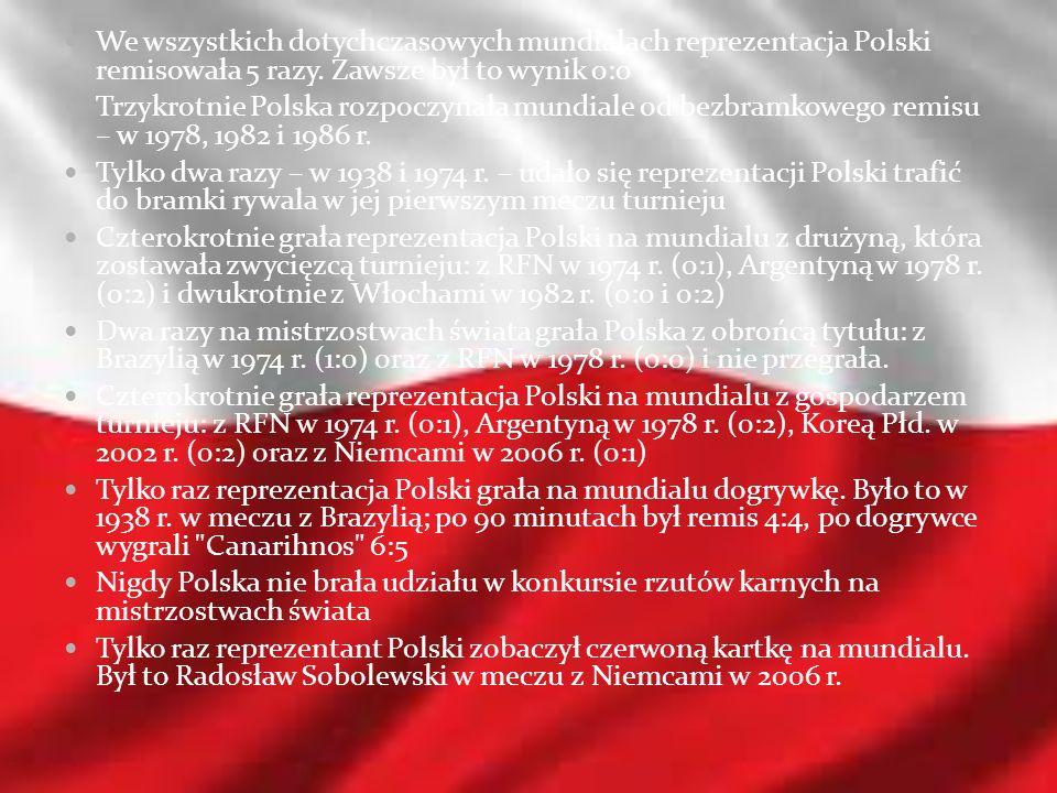 We wszystkich dotychczasowych mundialach reprezentacja Polski remisowała 5 razy. Zawsze był to wynik 0:0 Trzykrotnie Polska rozpoczynała mundiale od b