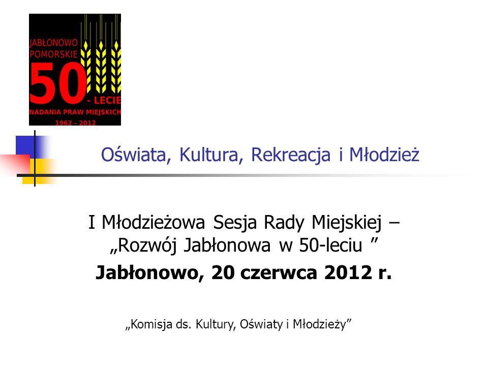 Oświata, Kultura, Rekreacja i Młodzież I Młodzieżowa Sesja Rady Miejskiej – Rozwój Jabłonowa w 50-leciu Jabłonowo, 20 czerwca 2012 r. Komisja ds. Kult